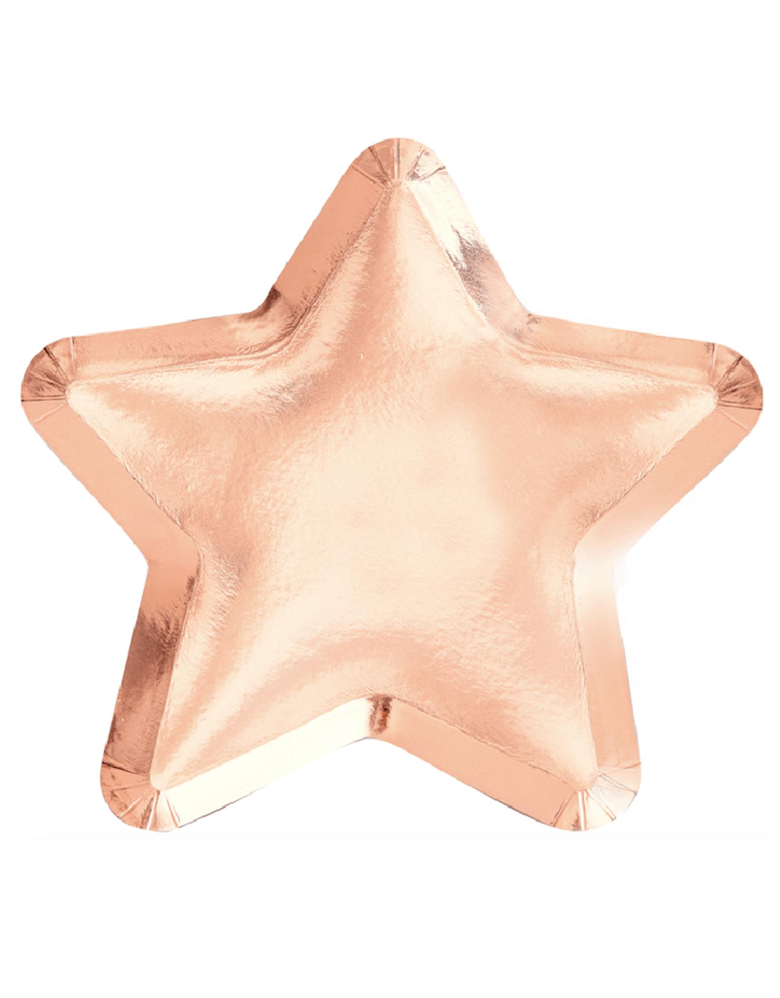 Ginger Ray Papieren bordjes ster rosé goud | 8 stuks