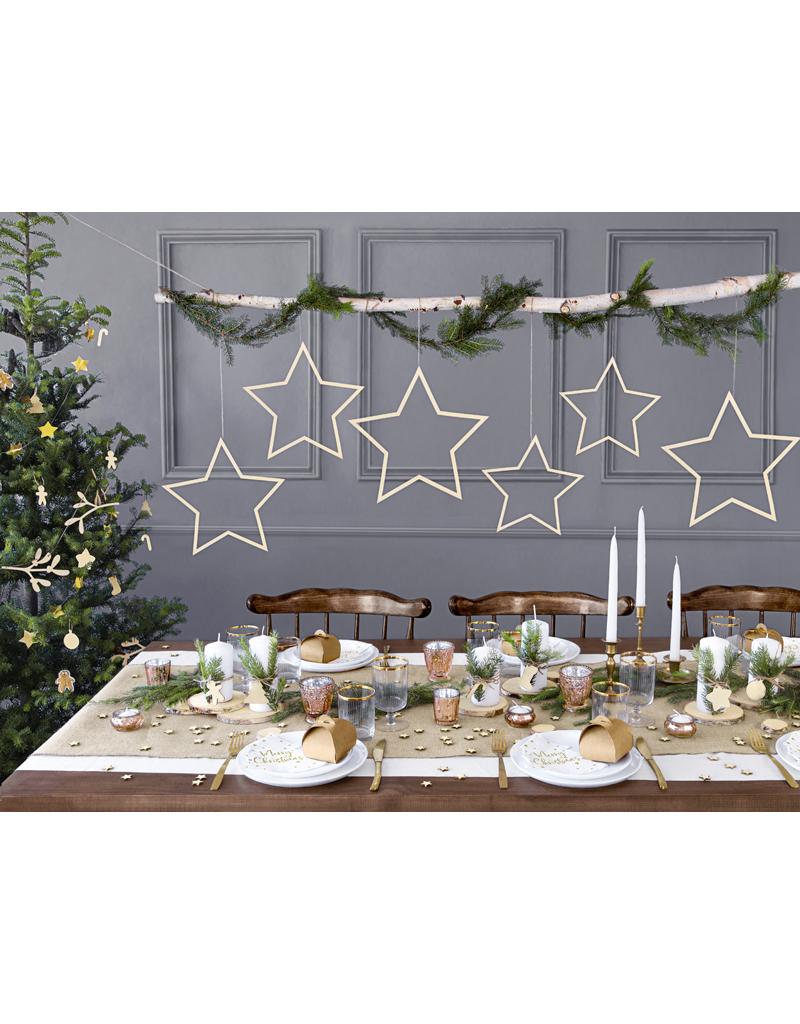 PartyDeco Houten labels kerstfiguren | 12 stuks