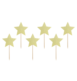 PartyDeco Cupcake prikkers gouden sterren | 6st