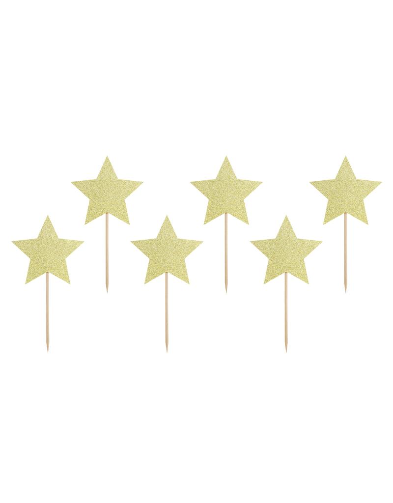 PartyDeco Cupcake prikkers gouden sterren | 6 stuks