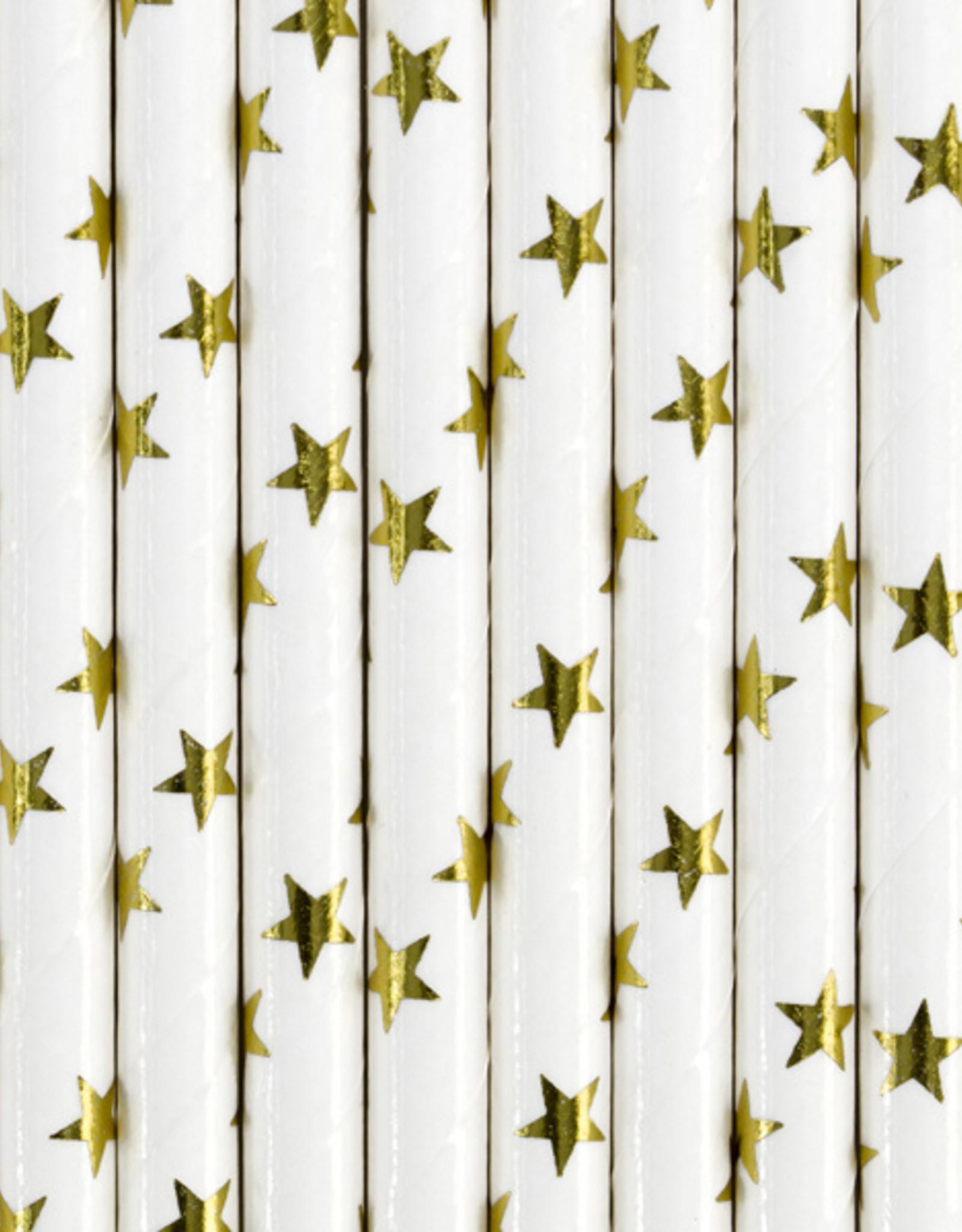 PartyDeco Rietjes gouden sterren | 10 stuks
