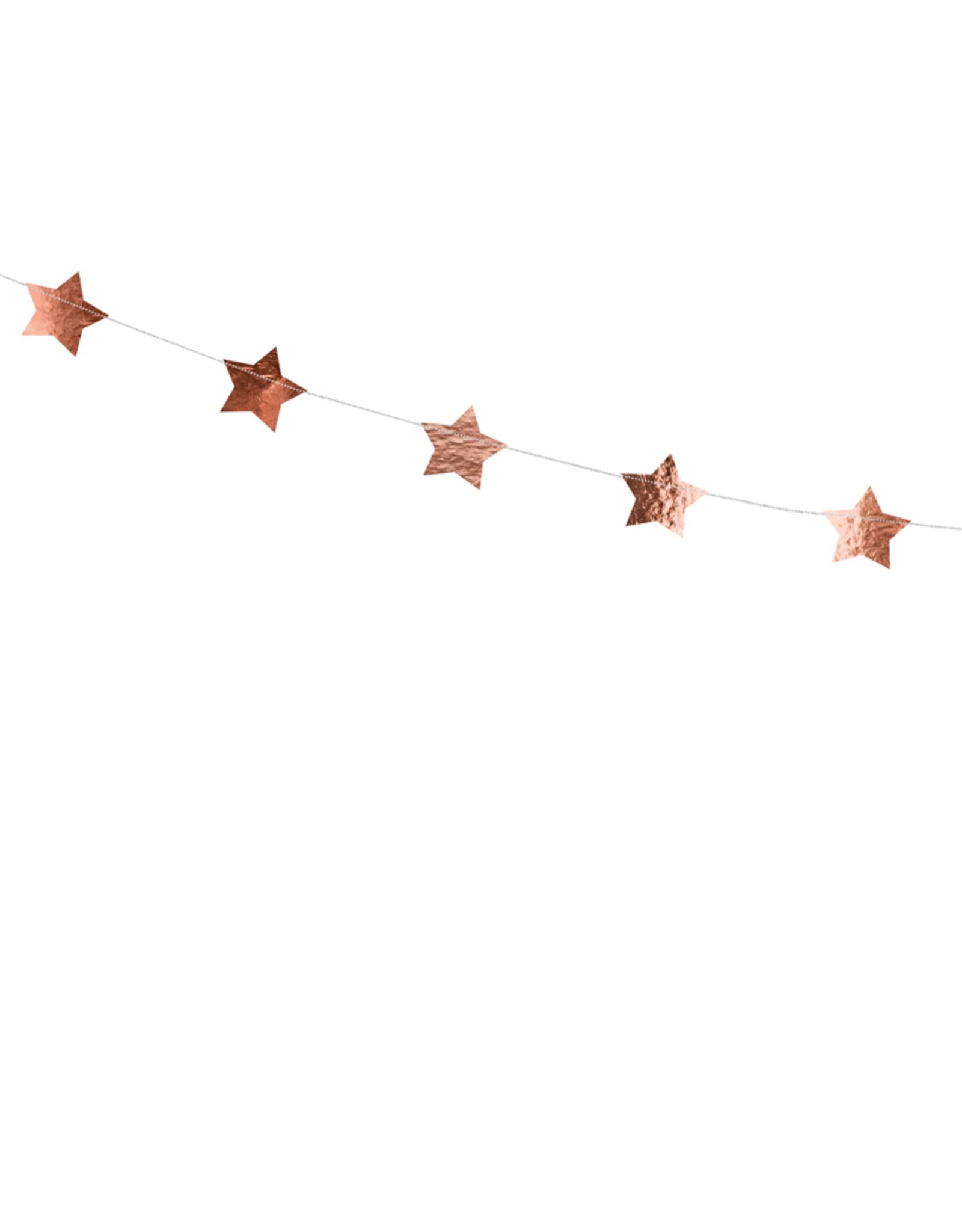 PartyDeco Slinger rosé gouden sterren | 3,6 meter