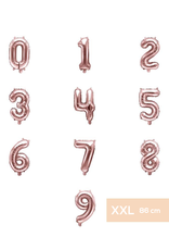 PartyDeco XXL folie ballonnen rosé goud 0 t/m 9 (86 cm) - prijs per stuk