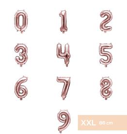 PartyDeco XXL folie ballonnen rosé goud 0 t/m 9 (86 cm)