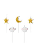 PartyDeco Kaarsjes maan, wolkjes & sterren | 5 stuks