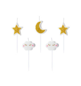 PartyDeco Kaarsjes maan, wolkjes & sterren | 5st