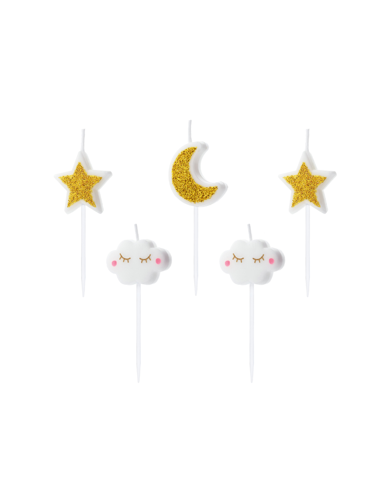 PartyDeco Kaarsjes maan, wolkjes & sterren   5 stuks