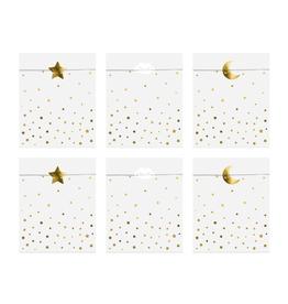 PartyDeco Zakjes wit met gouden sterren | 6st