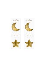 PartyDeco Zakjes wit met gouden sterren | 6 stuks