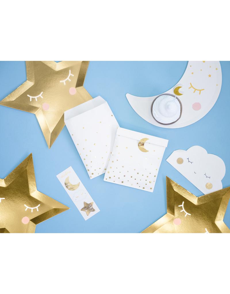 PartyDeco Zakjes wit met gouden sterren   6 stuks