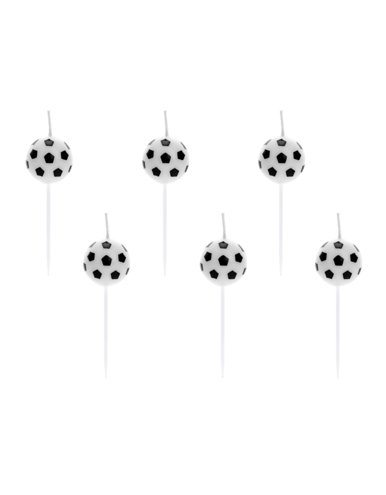 PartyDeco Kaarsjes voetbal | 6 stuks