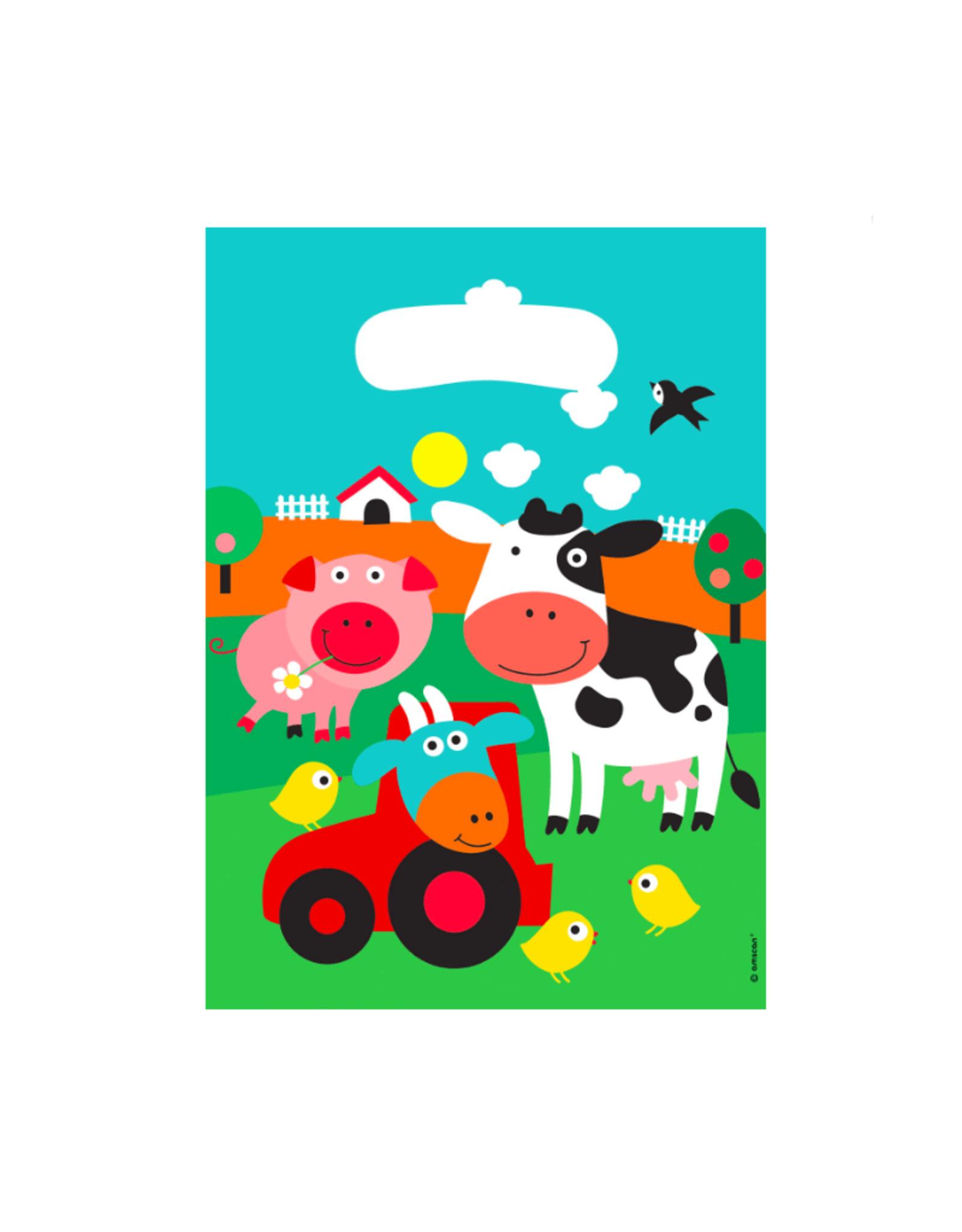 Amscan Uitdeelzakjes boerderij dieren | 8 stuks