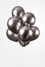 Chrome ballonnen donkergrijs (30 cm) | 10st