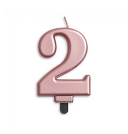 Verjaardagskaarsje metallic roze | cijfer 2