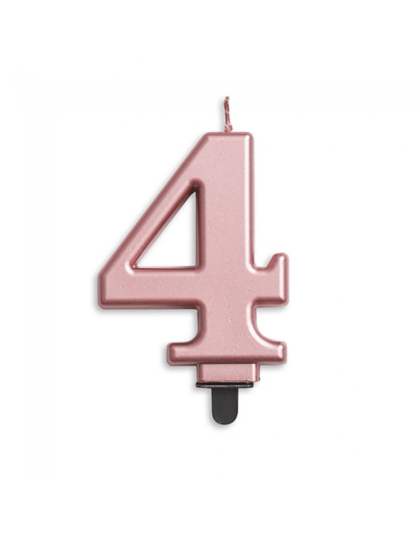 Verjaardagskaarsje metallic roze | cijfer 4