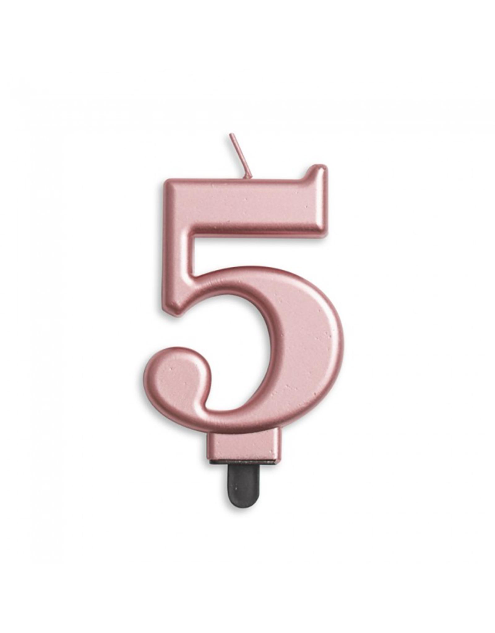 Verjaardagskaarsje metallic roze | cijfer 5