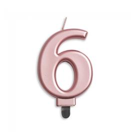 Verjaardagskaarsje metallic roze | cijfer 6