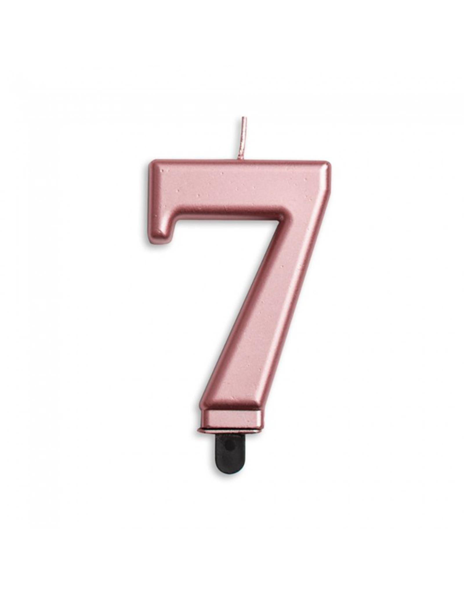 Verjaardagskaarsje metallic roze   cijer 7