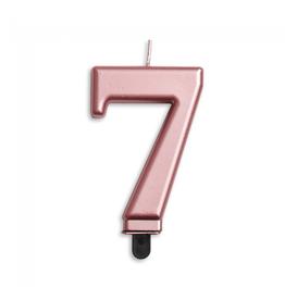 Verjaardagskaarsje metallic roze | cijfer 7