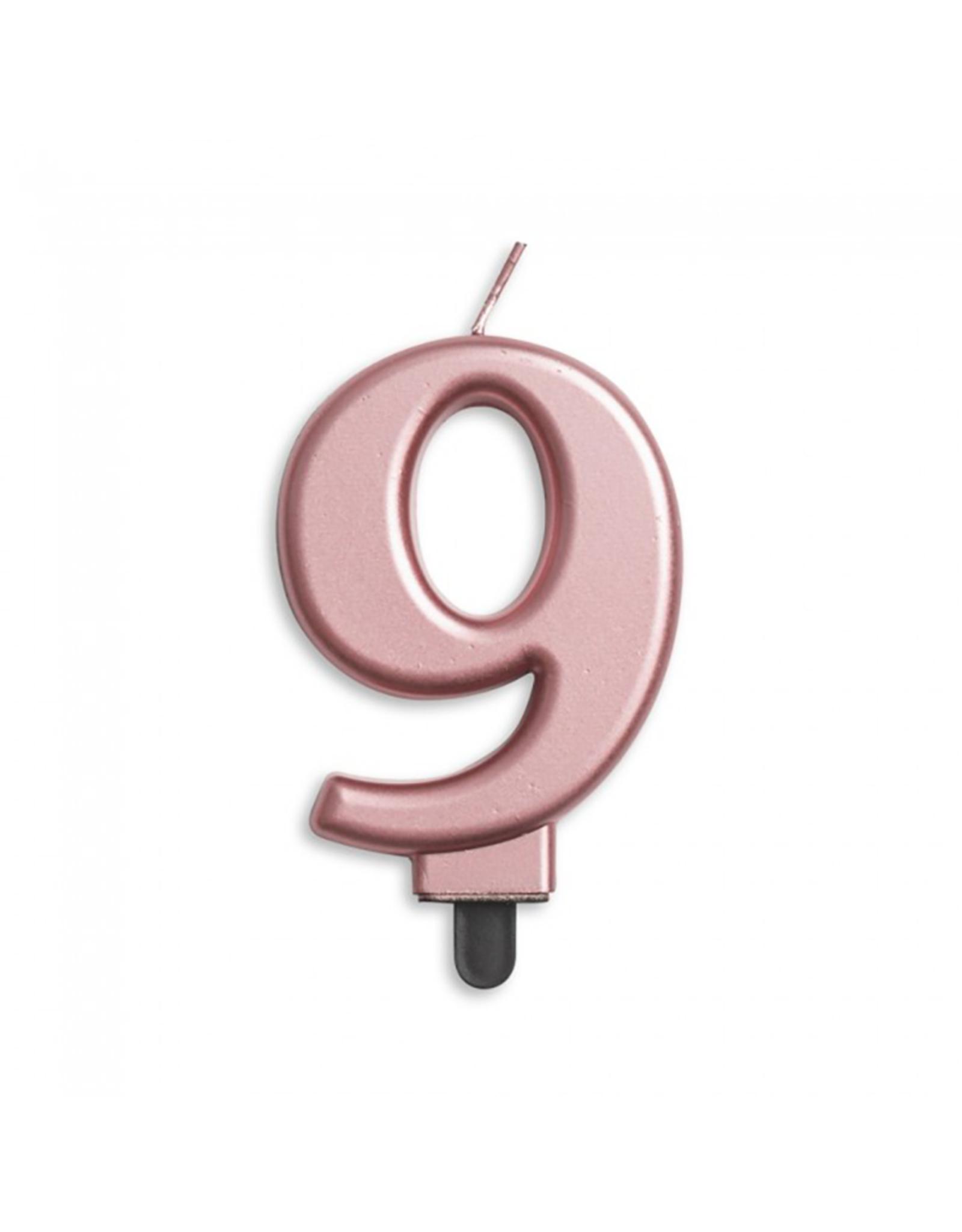 Verjaardagskaarsje metallic roze   cijfer 9