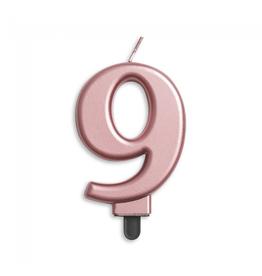 Verjaardagskaarsje metallic roze | cijfer 9