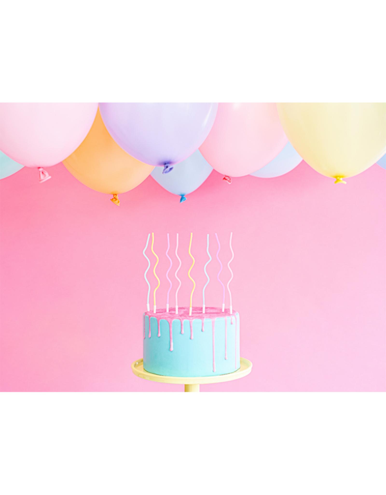 PartyDeco Krullende kaarsjes pastel | 8 stuks