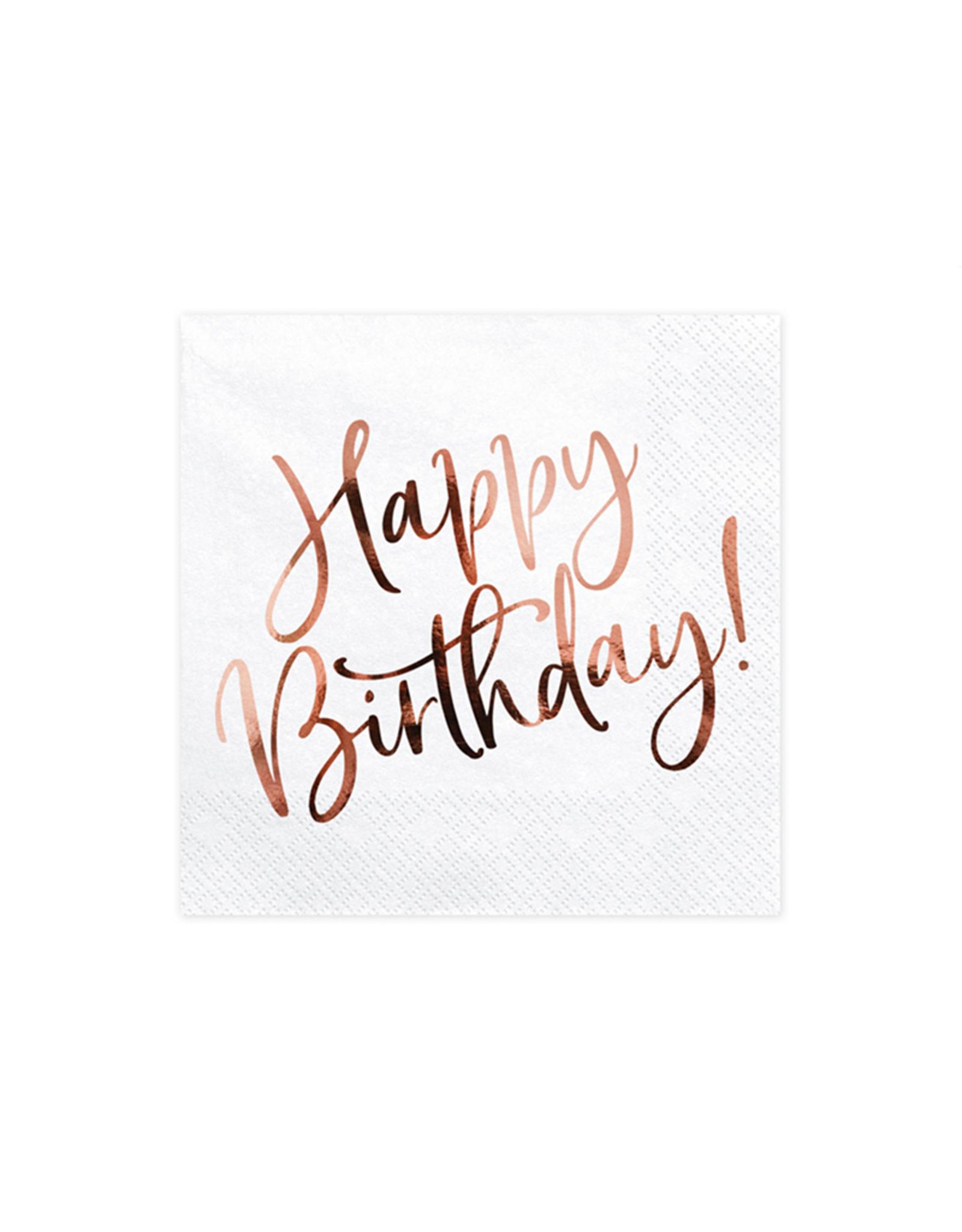 PartyDeco Servetten Happy Birthday rosé goud | 20st