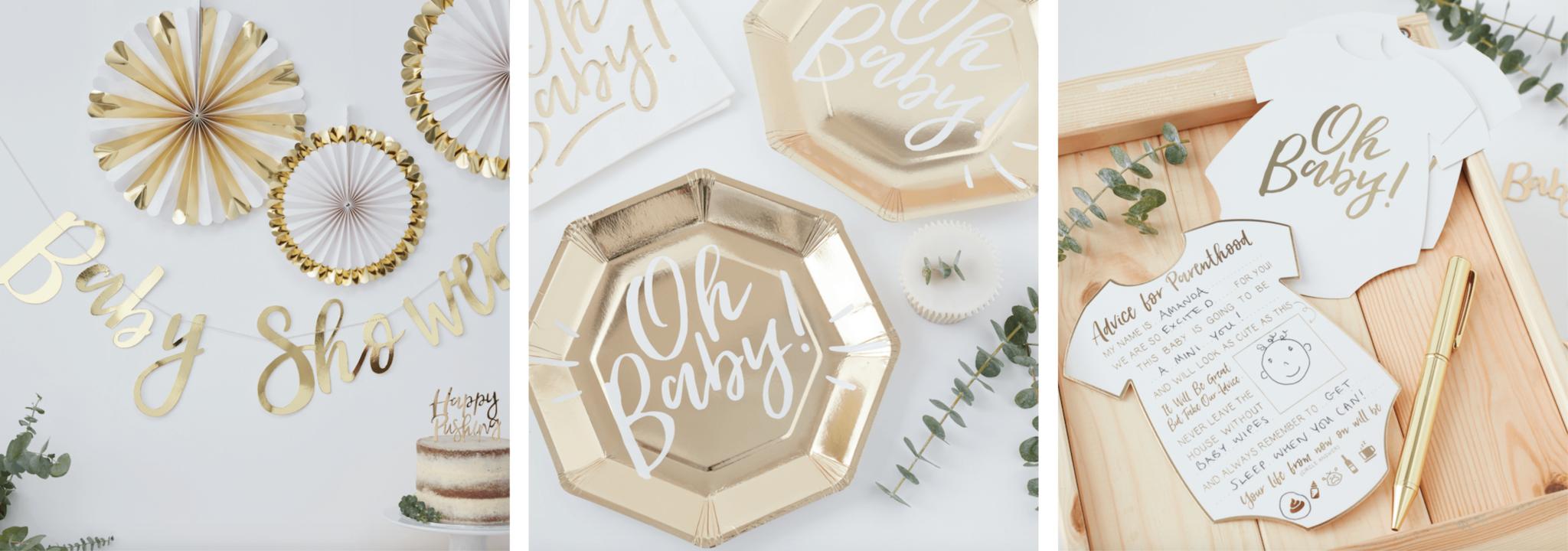 Babyshower versiering goud