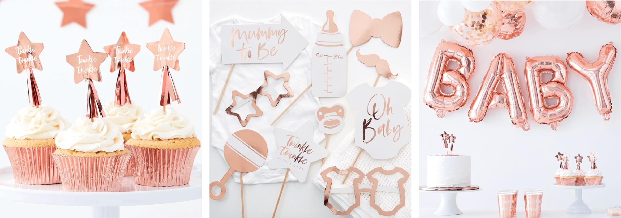 Babyshower versiering rosé goud