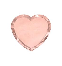 PartyDeco Papieren bordjes hart rosé goud | 6st