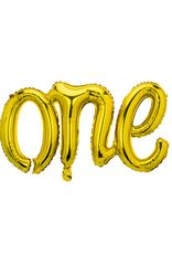 PartyDeco Folie ballon 'ONE' goud