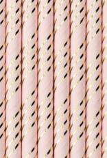 PartyDeco Papieren rietjes lichtroze met goud | 10 stuks