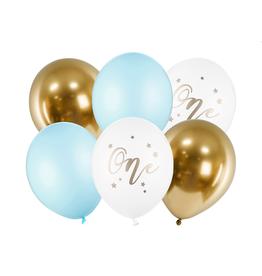 PartyDeco Ballonnenmix blauw & goud 'One' | 6st