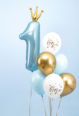 PartyDeco Ballonnenmix blauw & goud 'One' | 6 stuks