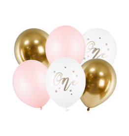 PartyDeco Ballonnenmix roze & goud 'One' | 6st