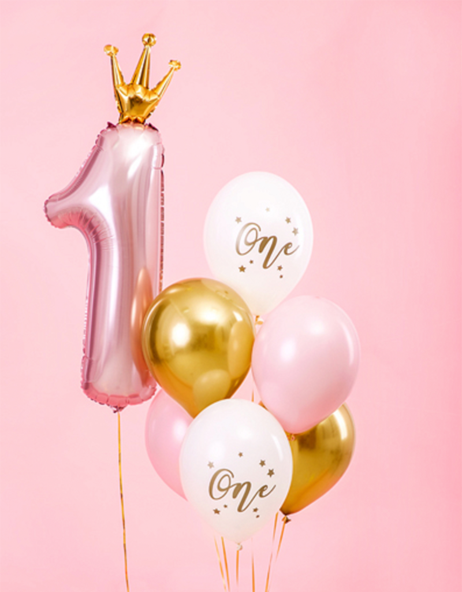 PartyDeco Ballonnenmix roze & goud 'One' | 6 stuks