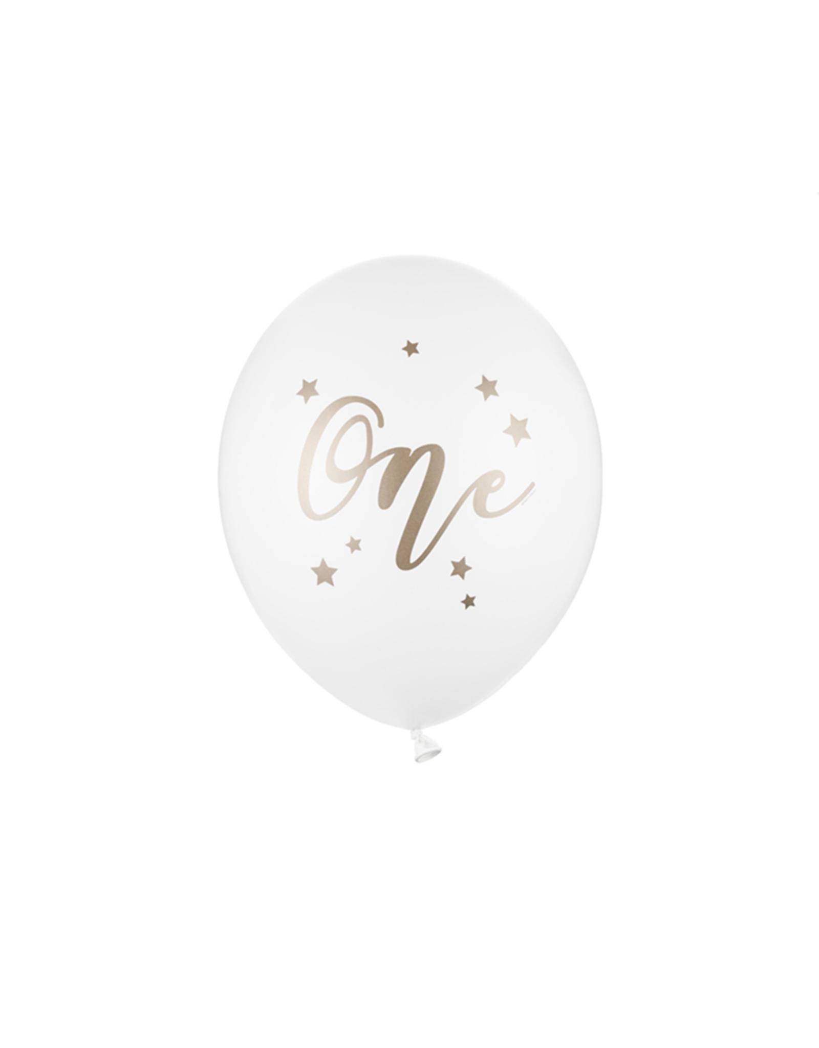 PartyDeco Ballonnen wit & goud 'One' | 5 stuks