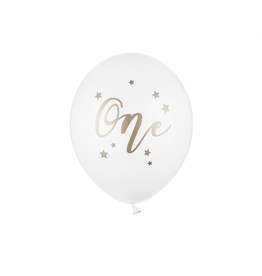 PartyDeco Ballonnen wit & goud 'One' | 5st