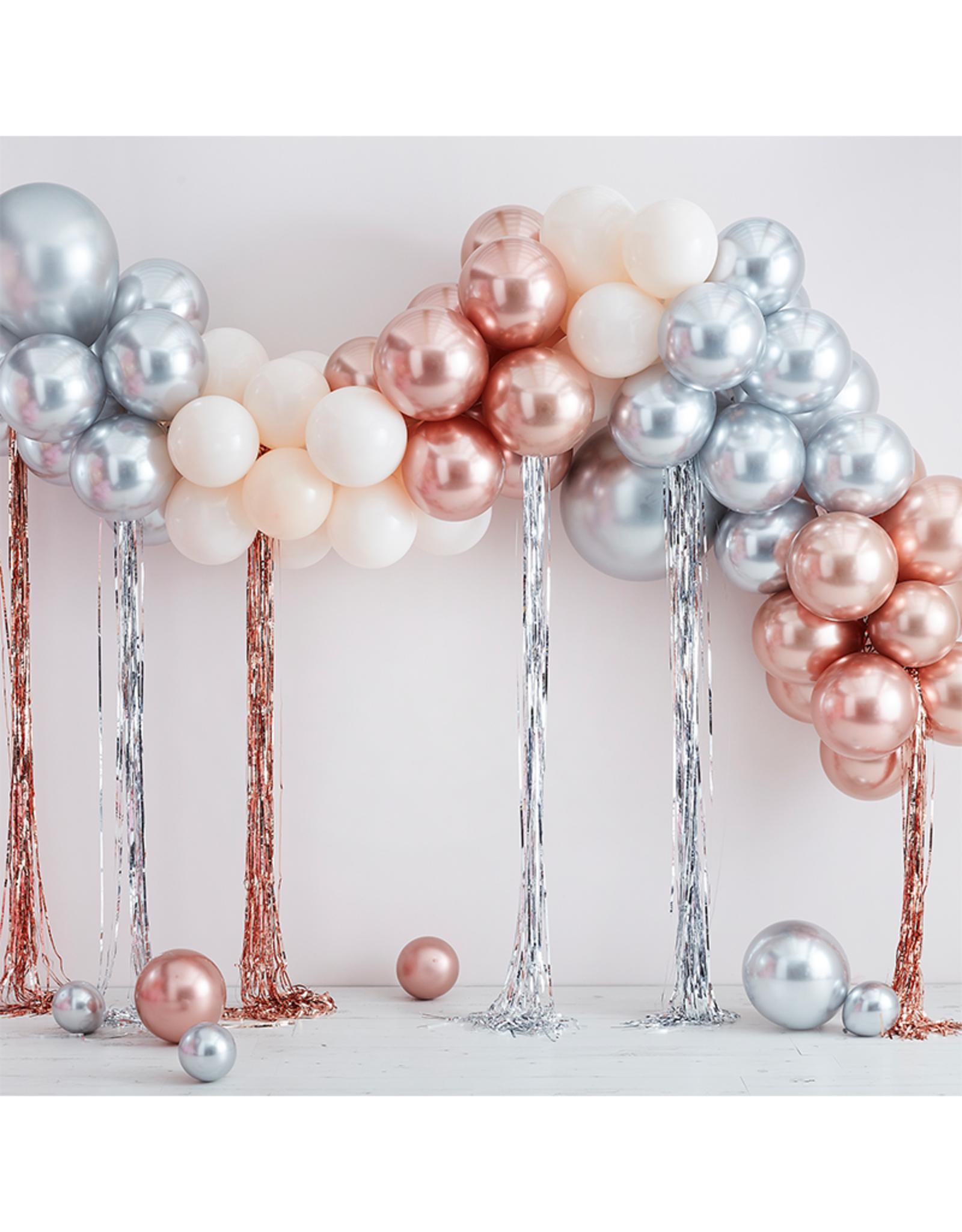 Ginger Ray Metallic chrome ballonnenboog met streamers | rosé goud & zilver