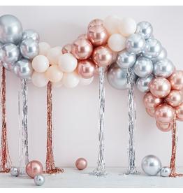 Ginger Ray Metallic chrome ballonnenboog rosé goud & zilver