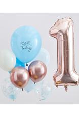 Ginger Ray Ballonnenmix One Today blauw & rosé goud | 10 stuks