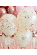 Ginger Ray Confetti ballonnen rosé goud & crème dubbellaags (45 cm) | 3 stuks