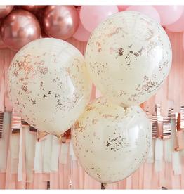 Ginger Ray Confetti ballonnen rosé goud & crème dubbellaags (45 cm) | 3st