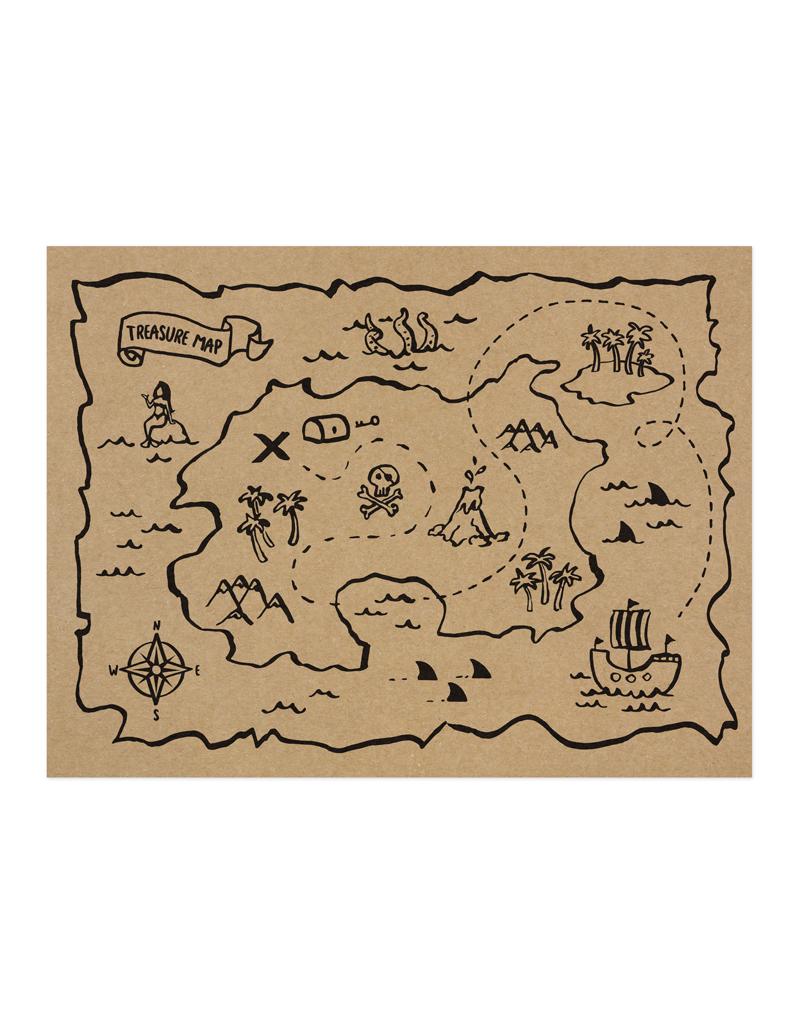 Schatkaart piraten versiering placemat