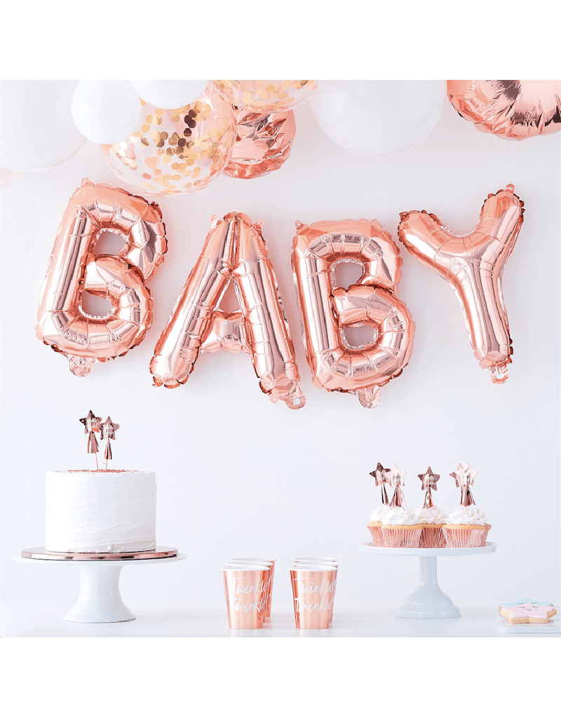 Rosé gouden babyshower versiering