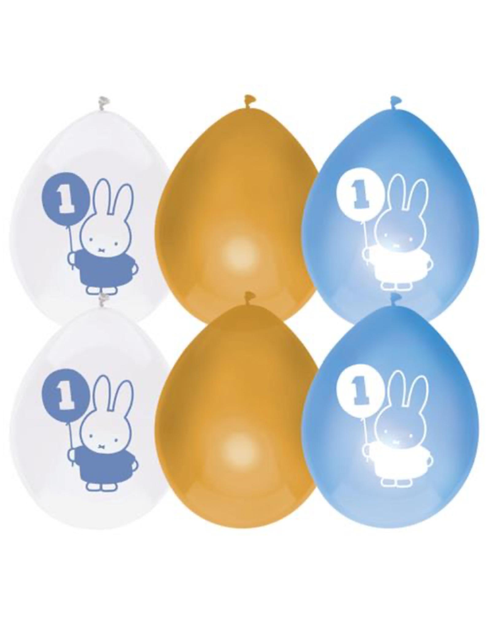 HAZA Ballonnenmix Nijntje blauw 1 jaar   6 stuks