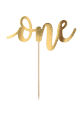 PartyDeco Taarttopper 'One' goud