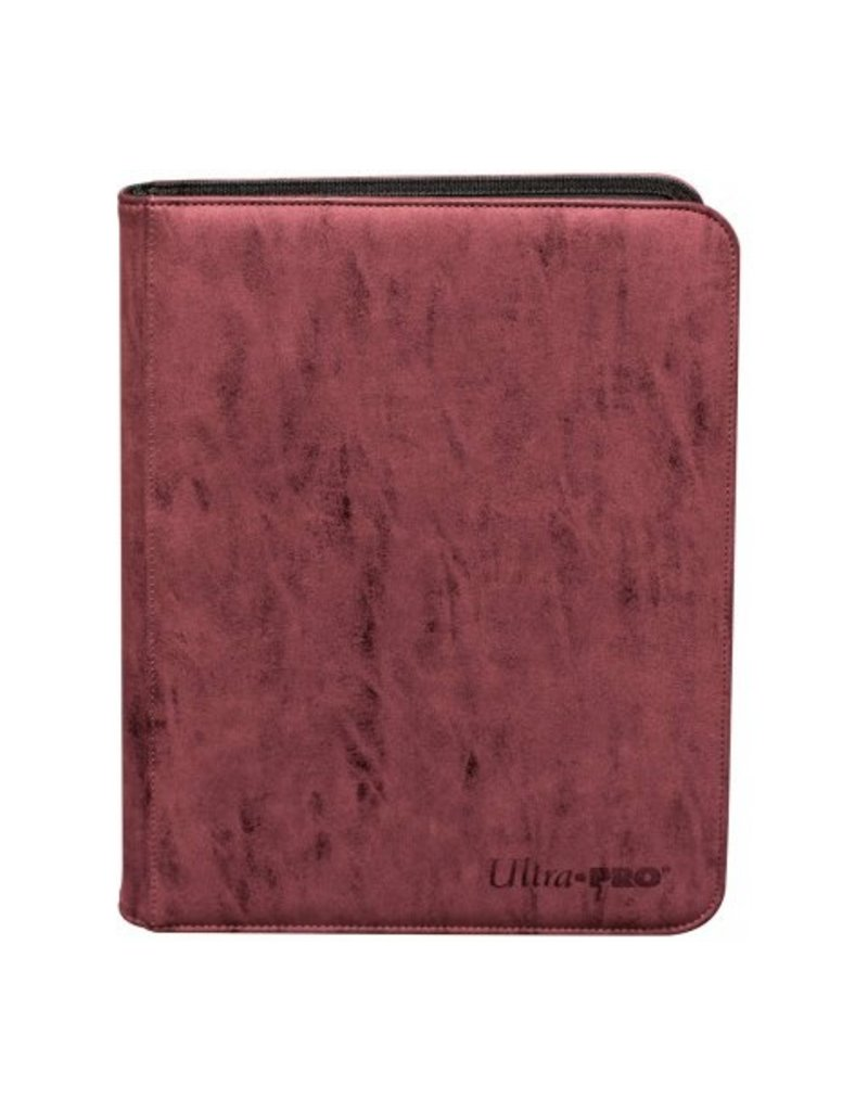 Ultra Pro 9-Pocket Zippered Premium Pro Binder Suede Collection - Ruby Ultra Pro