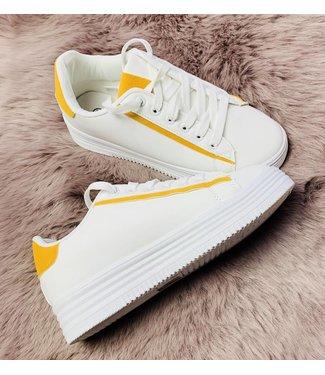Basic White Mustard - Sneakers