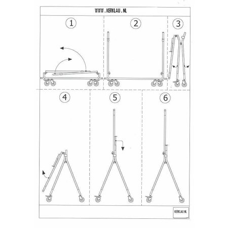 Vouwrek - Transportroller - B100 x H150 x D55 - Chroom